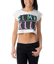 Glamour Kills Wave Cutter Heather White Crop Tee Shirt