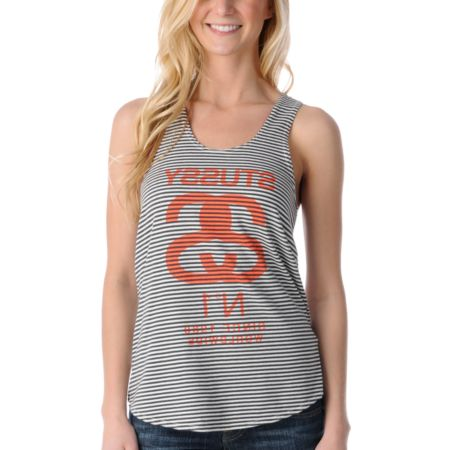 Stussy Girls Half Breed Black & Grey Stripe Racerback Tank Top