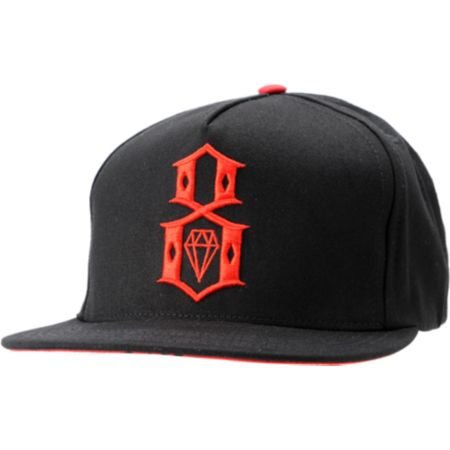 REBEL8 Logo Black & Red Snapback Hat