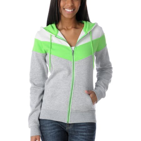 Ralik Hyper Girls White & Green Zip Up Hoodie