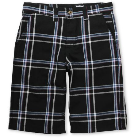 Free World Shufflin Black Plaid Shorts