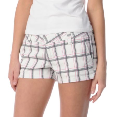 Hurley Girls Lowrider White Plaid Shorts