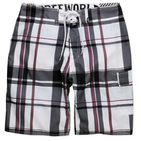 Free World Blaze White & Black Plaid 21.25 Board Shorts