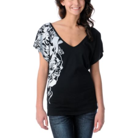 Metal Mulisha Girls Tear Drops Black V-Neck Dolman Top