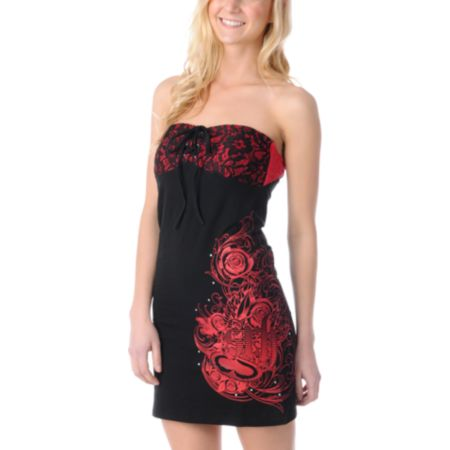 SRH Iris Black & Red Lace Dress
