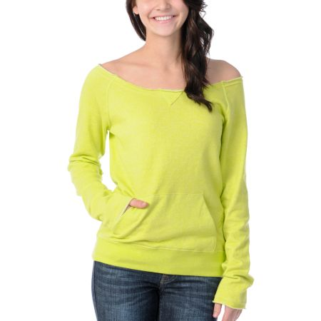 Volcom Girls Moclov Lime Green Pullover Sweatshirt