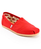 Toms Classics Red Canvas Guys Slip On Shoes