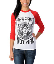 Obey Make Art Not War Red & White Baseball Tee Shirt