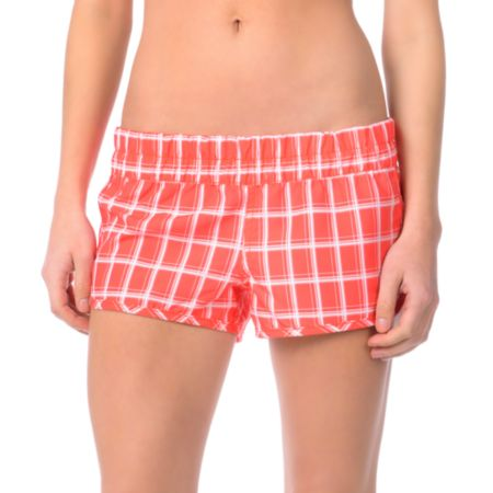 Hurley Girls Super Suede Beachrider Red Plaid  Board Shorts