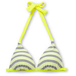 Gossip Double Dare Neon, Grey & White Molded Halter Bikini Top