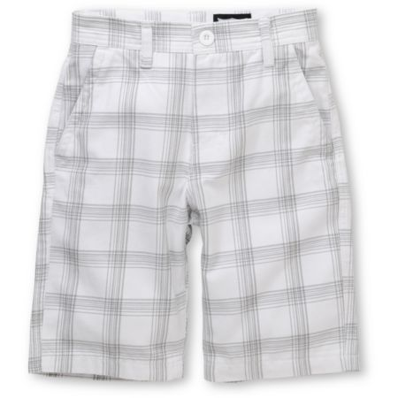 Free World Flossy Boys White Plaid Shorts