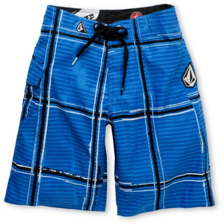 Volcom Boys Maguro Blue & White Plaid 18 Board Shorts
