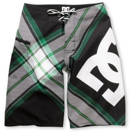DC Campaign Black Plaid 20 Boys Board Shorts