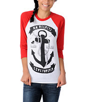 Glamour Kills Anchors Away Red Baseball Tee Shirt