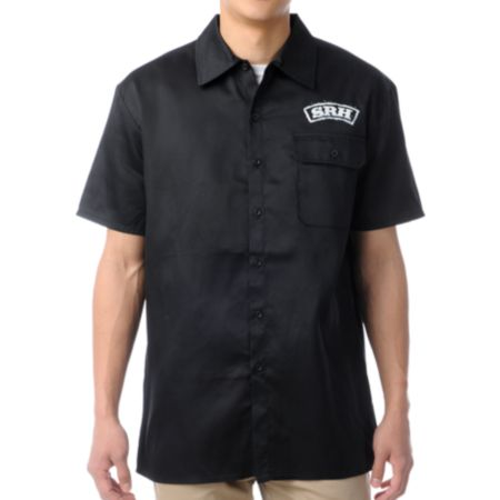 SRH Outlaw Black Short Sleeve Button Up Shirt