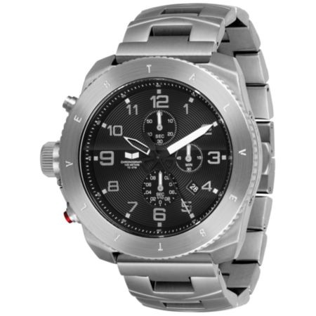 Vestal Restrictor Sliver & Black Guys Chronograph Watch