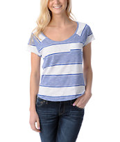 Empyre Girls Tempo White & Blue Striped Scoop Neck Tee Shirt