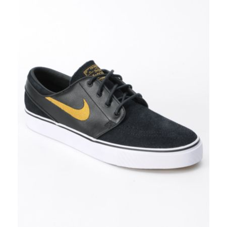 Nike SB Zoom Stefan Janoski Black & Metallic Gold Shoe