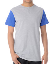 Zine Flipside Grey & Blue Short Sleeve Henley Tee Shirt