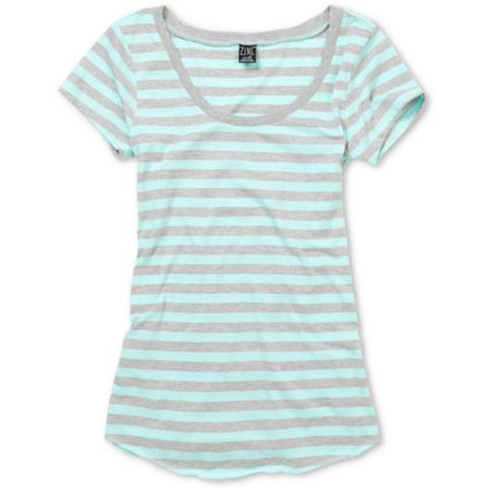 Zine Girls Light Grey & Aqua Scoop Tee Shirt