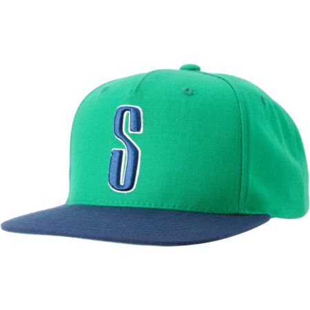 Stussy Old Skool Green Starter Snapback Hat