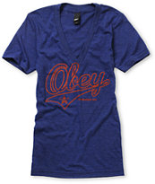 Obey Girls Script Heather Blue Deep V-Neck Tee Shirt
