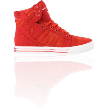 Supra Skytop Red Canvas & Suede Skate Shoe