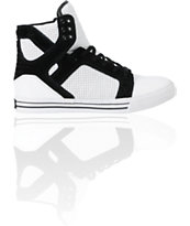 Supra Skytop White & Black Perforated Leather Skate Shoe
