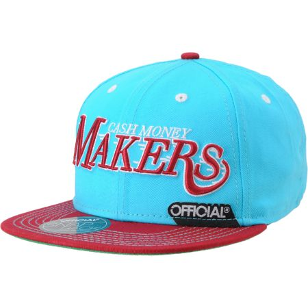 Official Cash Money Makers Aqua & Burgundy Snapback Hat