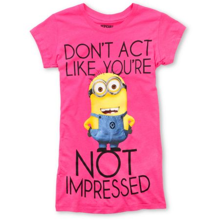 Despicable Me Dont Act Girls Pink Tee Shirt