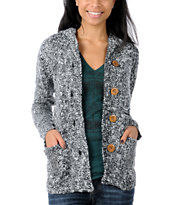 Element Women's Shelby Black And White Cardigan Sweater
