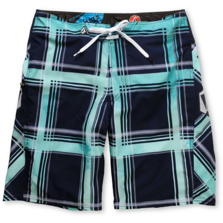 Volcom Plaiter Navy & Teal Plaid 21 Board Shorts