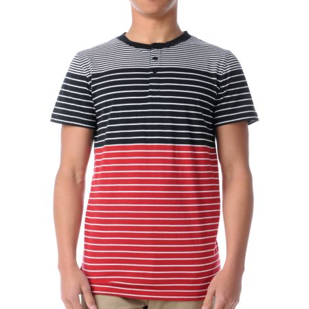 Empyre Prodigy Black & Red Striped Henley Tee Shirt
