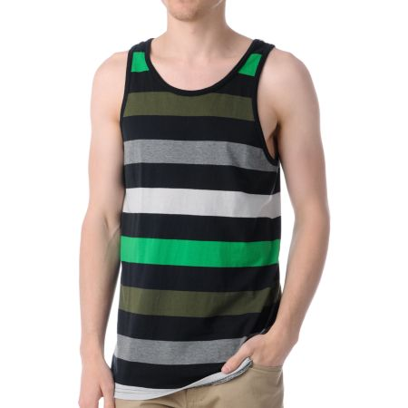 Empyre Party Man Green, Black & Grey Striped Tank Top