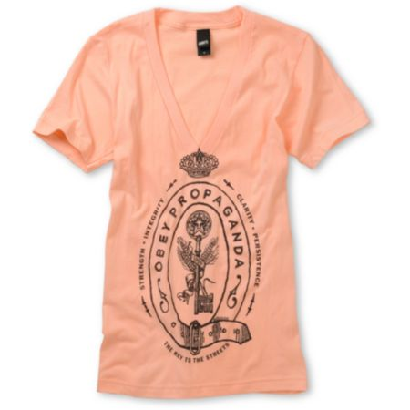 Obey Girls Keys To The Streets Salmon V-neck Tee Shirt