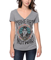 Obey Girls Make Art Not War Grey V-Neck Tee Shirt