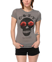 Obey Girls Sinner Heather Grey Crew Tee Shirt