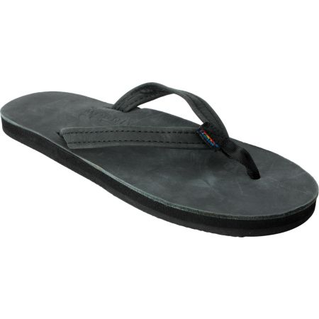 Rainbow Premier Black Leather Girls Sandals