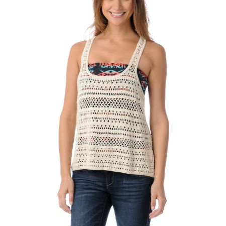 Empyre Girls Janis Cream Crochet Tank Top