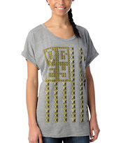 Obey Girls Grey Stud Flag Rolled Sleeve Dolman Tee Shirt