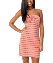 Volcom V.Co Lives Coral Stripe Tube Dress