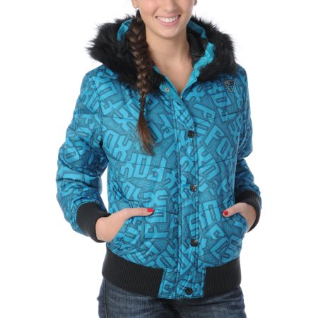 Fox Girls Austen Blue Graphic Print Puffy Jacket