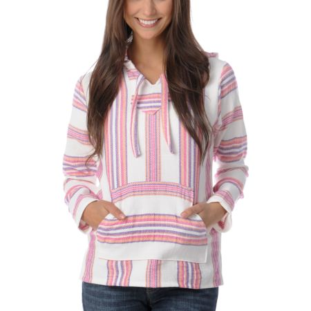 Senor Lopez Cream, Pink, Orange, & Purple Girls Baja Poncho