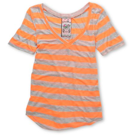 A Fine Mess Girls Daydreamer Orange Neon Stripe V-Neck Tee Shirt