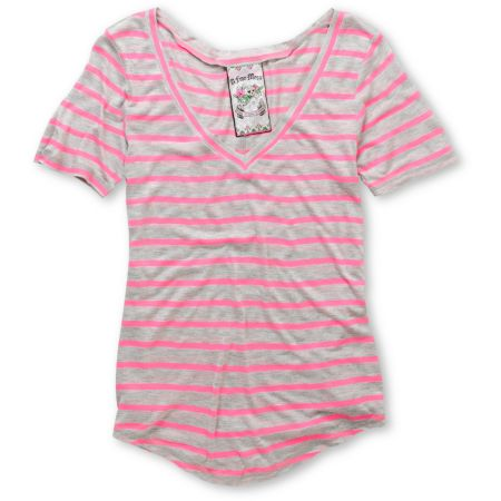 A Fine Mess Girls Meringue Neon Pink Stripe V-Neck Tee Shirt