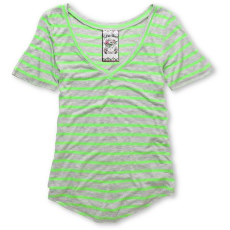 A Fine Mess Girls Meringue Green Neon Stripe V-Neck Tee Shirt