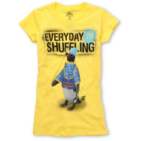 A-Lab Girls Shuffle Yellow Crew Neck Tee Shirt