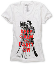 Empyre Girls Keep Calm White V-Neck Tee Shirt