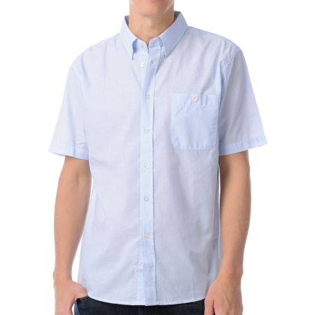 Brixton Warden Blue Pinstriped Button Up Shirt