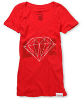Diamond Supply Girls Diamond Life Red Graphic Tee Shirt